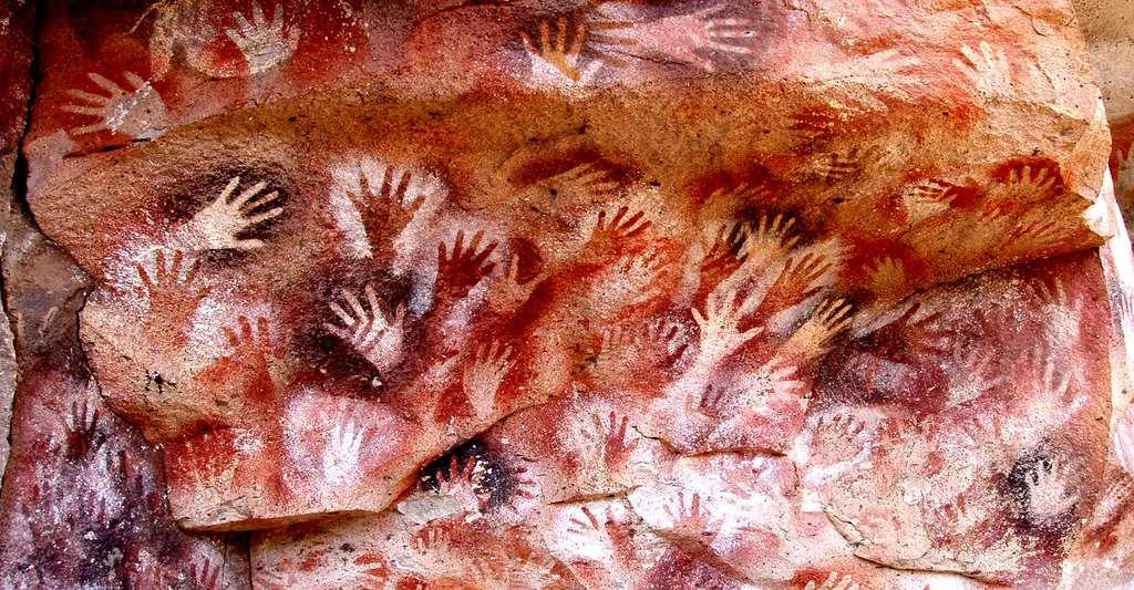 14 Mains négatives - Peintures rupestres de Bornéo
