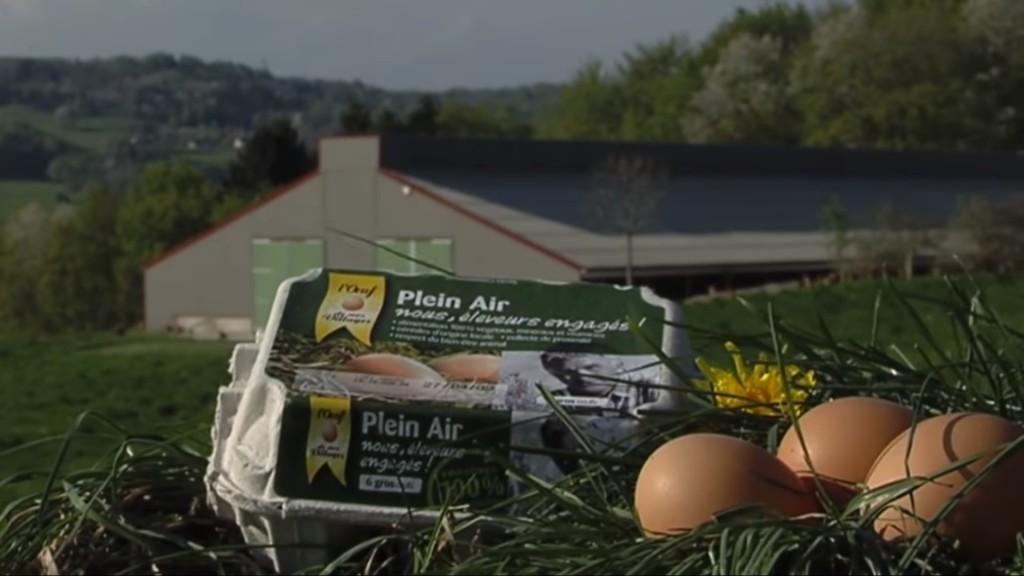 132 L'œuf de nos villages, éleveurs engagés – vidéo promotionnelle, 2009 – boîte d'œufs en exposition – copie d'écran, 2021