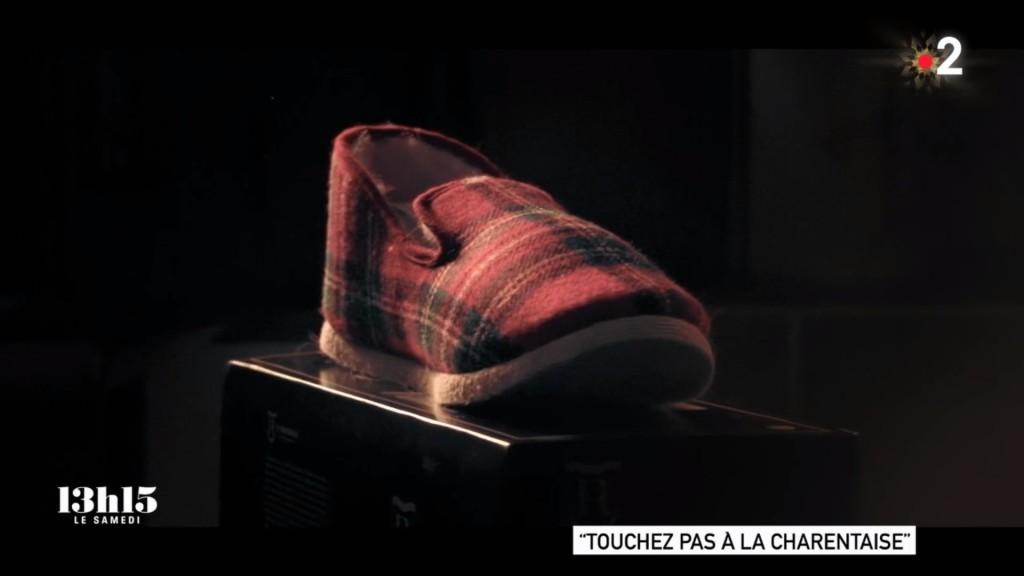 133 Touchez pas à la charentaise, reportage de Stéphane Dépinoy, Joseph Haley, Laura Lequertier et Clément Magnin, 2020 – charentaise en exposition – copie d'écran, 2021