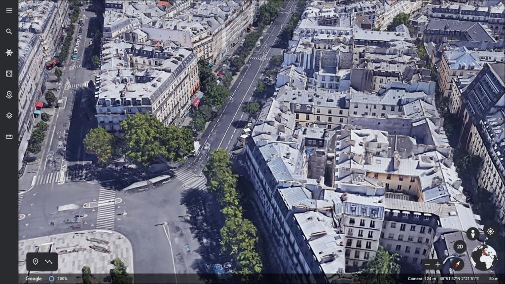 158 Boulevard du Temple - Google Earth (copie d'écran) – 2021 (à deux pas de la rue Albert Thomas)