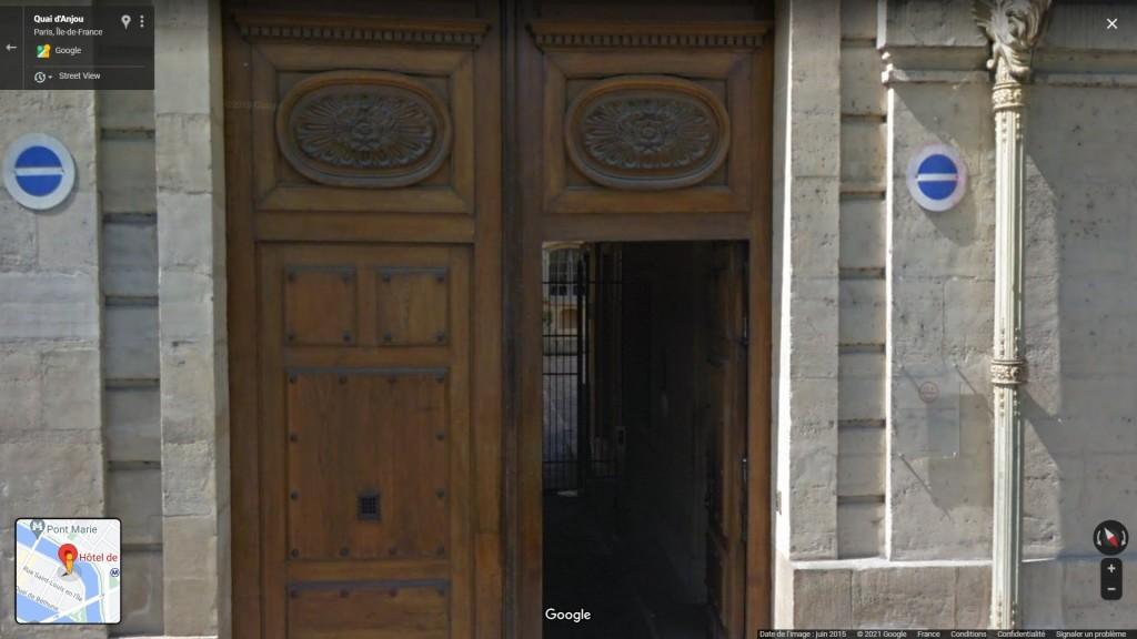 159 Crachoir de Baudelaire (entrée de l'Hôtel de Lauzun) - Google Maps (street view juillet 2015) - copie d'écran, 2021